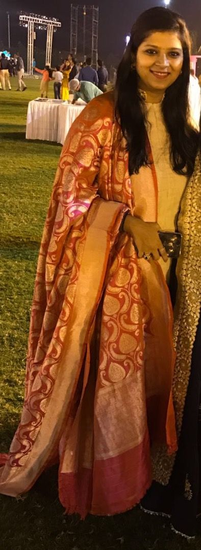 Use your Banarasi dupatta on any simple floor length gown to give a classy look in weddings