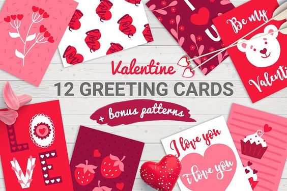 12 Valentine Cards + Bonus Patterns by miumiu on @creativemarket