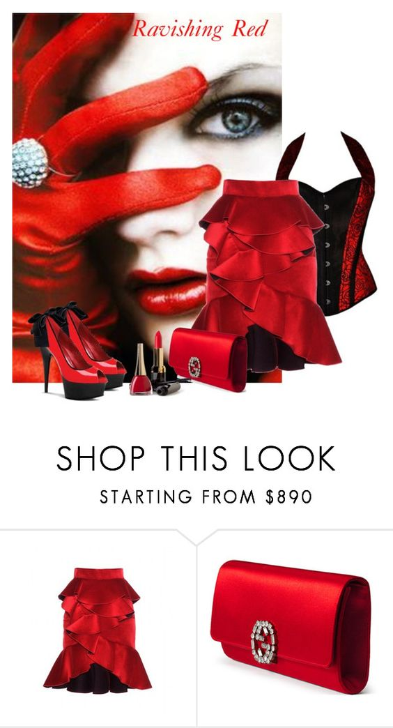 """""""Ravishing Red"""" by lorrainekeenan ❤ liked on Polyvore featuring Balmain, Gucci and Pleaser"""