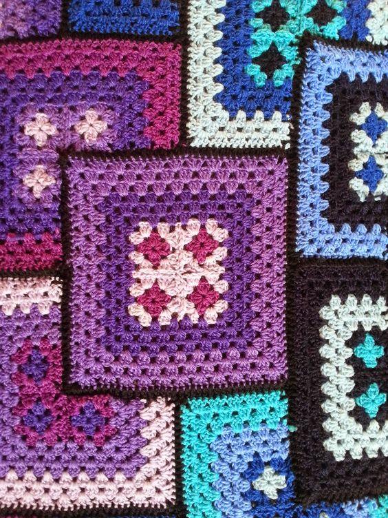 supersch n und mit gratis anleitung o h kelfieber patchwork granny decke granny square. Black Bedroom Furniture Sets. Home Design Ideas