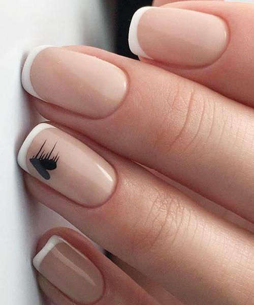 Simple White Nail Tip Arts Nail Art Ideas Beautynails Nail Art Wedding Gel Nails Nail Designs