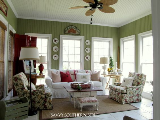 This might be an enclosed porch room, but it's perfect for a living room!