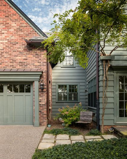 Good exterior wood color for red brick house