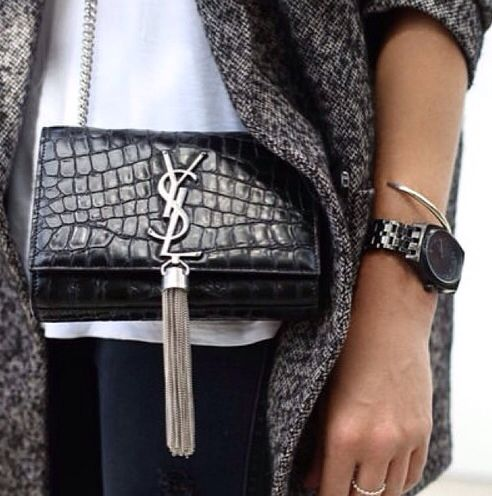 replica ysl handbag - YSL Tassel Bag // Black Watch // Grey Coat | S T Y L E | Pinterest ...