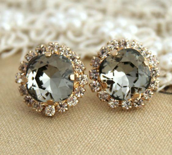Smoky Gray Crystal Rhinestone stud Petite vintage earring - 14k 1 micron Thick plated gold post earrings real swarovski rhinestones .