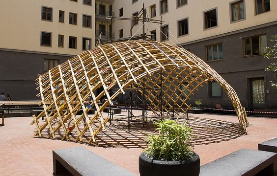 Toledo 2 Gridshell Naples, Faculty of Architecture countryard, 2014,: