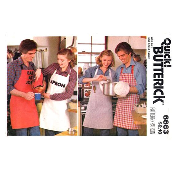 Apron Mitt Potholder Pattern Butterick 6663 Letter Transfer Pocket Adult One Size UNCUT - product images  of