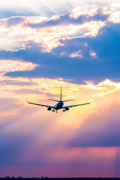 きれいな空を飛ぶ飛行機