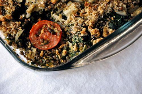Chard lentil gratin