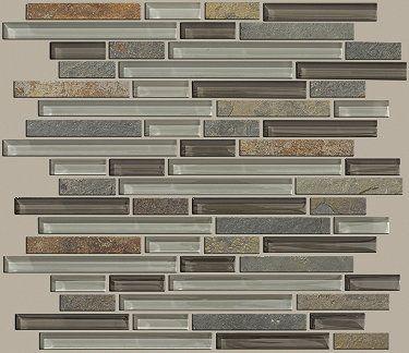 glass ceramic tile mixed up random linear mosaic slate