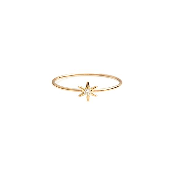 Description Ring. Material 9K Yellow Gold. Dimensions. White diamond, 2mm. Star size, approximately 5mm. Wire width, 0.9mm. Construction Hand made to order. Up