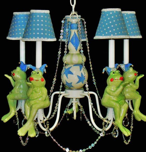 Whimsical Frog Jester Nursery Chandelier Child Lighting. $350.00, via Etsy.