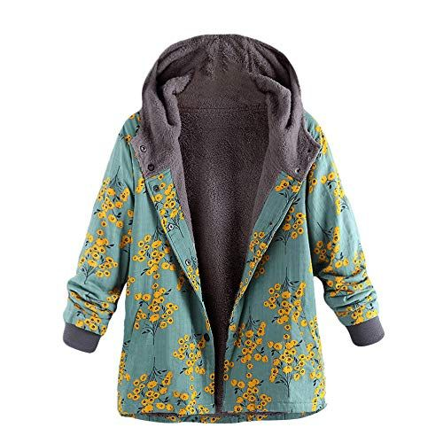 DongDong Casual Fleece Coat,Womens Winter Warm Hoodie Zipper Long Sleeve Sweater Cotton Pocket Outwear Plus Size