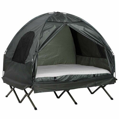 Deluxe 4 In 1 Compact Folding Dome Shelter Tent With Sleeping Bag Air Mattress Pillow In 2020 Camping Bed Tent Cot Camping Cot
