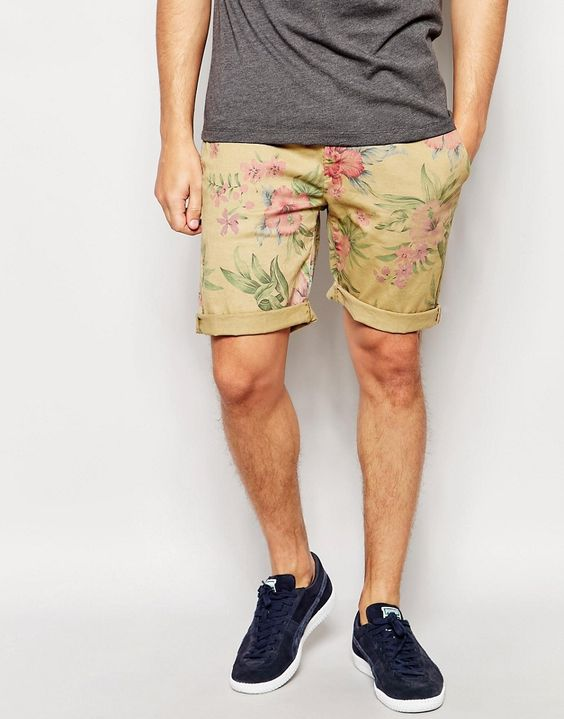 Image 1 of Pepe Jeans McQueen Hawaiian Turn Up Shorts