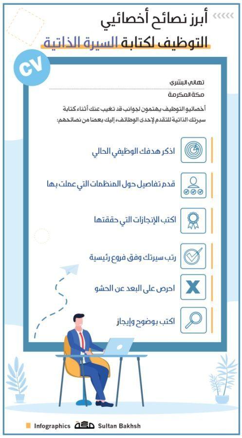 أبرز نصائح أخصائيي التوظيف لكتابة السيرة الذاتية انفوجرافيك صحيفة مكة Infographic Infographic Gag