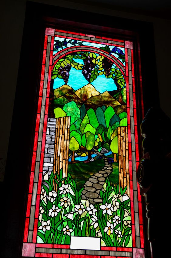 stained glass inside the historic now Methodist Church