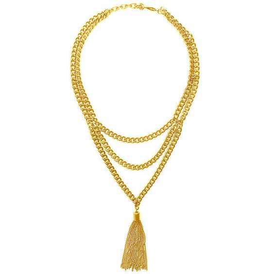 """Karine Sultan Layered Gold Plated Chain with Tassle  24k gold plated pewter 16"""" - 18"""" adjustable"""