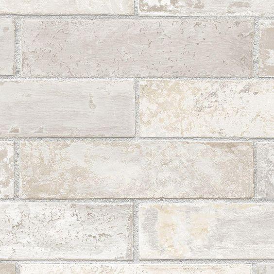 "12""/31cm Wallpaper SAMPLE Pale Gray Brick Wall Faux #Norwall"