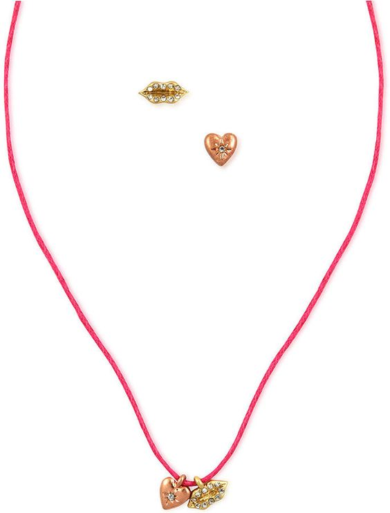 Rachel Roy RACHEL Necklace and Earrings Set, Multi-Tone Pink Cord Glass Stone Necklace and Stud Earrings on shopstyle.com