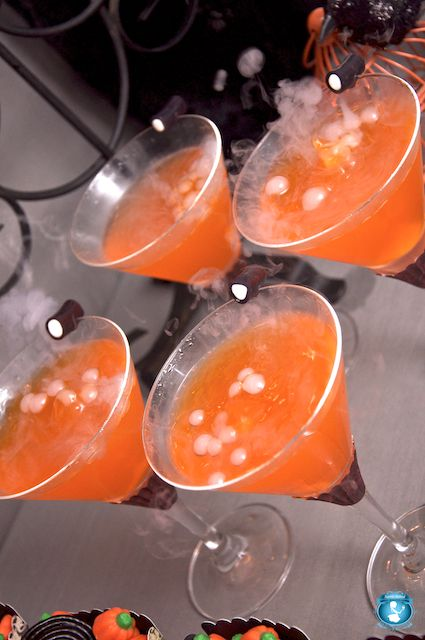 Halloweenie-tini The recipe is: 1.5 oz. Smirnoff Black Cherry Vodka 3 oz. Orange soda (we like Crush) 2 tsp. brown sugar