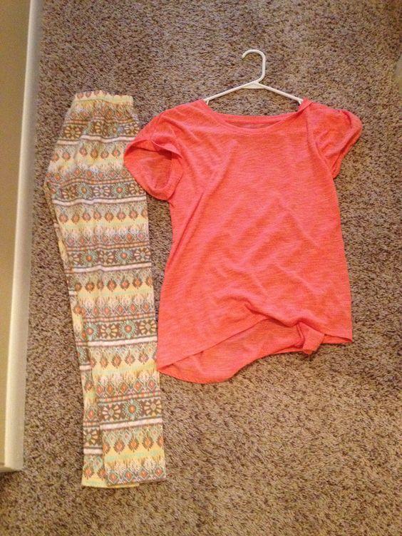 Pink top Aztec leggings