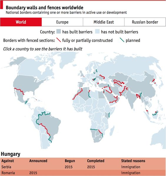 #TheEconomist ..... #Dailychart: Europe will soon have more physical barriers on its national borders than it did during the Cold War. Today, Hungary completed a fence along its border with Serbia. Since the fall of the Berlin Wall, 40 countries around the world have built fences against 64 of their neighbours.