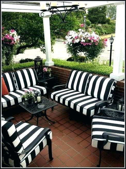 Black And White Patio Cushions Outdoor Striped Nz A Black Patio