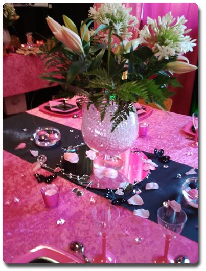 Pretty in Pink Center Piece But I honestly Love the table cloth and runner the best!