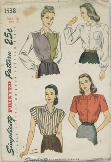 An original ca. 1948 Simplicity Pattern 1538.  Misses' and Women's Blouse: A shoulder yoke releases soft front fullness and the blouse is finished with a front-button closing. Styles I and II feature a small, round collar, and bishop sleeves fastened with button links. Style I is trimmed with a pocket and top-stitching is used for accent. In Style II, the left front is made of contrasting fabric. Style III has cap sleeves and a notched collar.