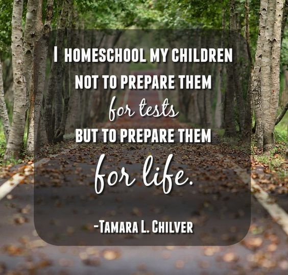 Quote- I homeschool my children not to prepare them for tests but to prepare them for life. #homeschoolquotes