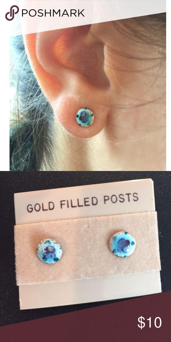 Vintage Hand Painted Gold Filled Posts Beautiful hand painted blue gold filled posts Jewelry Earrings