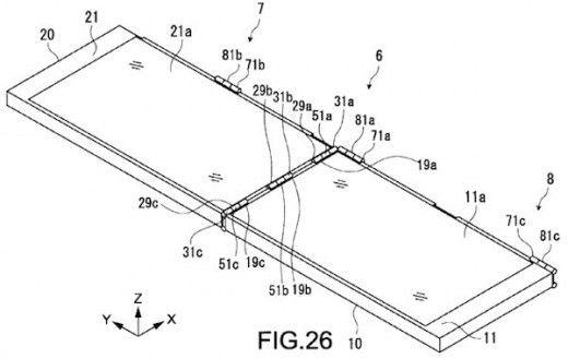 Sony brevetta un doppio schermo a due aperture  Che Sony fosse affascinata dai dispositivi a conchiglia lo si era già un po' intuito dal Tablet P, che purtroppo non ha però avuto il successo sperato. L'azienda nipponica non sembra comunque intenzionata a darsi per vinta ed un suo recente brevetto mostra un'idea alternativa in merito ai dispositivi pieghevoli.