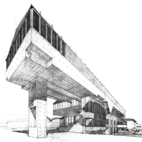 Awesome, old school architectural drawing of the Zanussi Rex Office, Porcia, Italy, 1959-61by Gino Valle