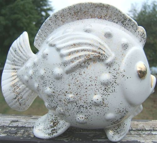 Look what I found on @eBay! http://r.ebay.com/Qv6s68 goldfish ceramic flower holder planter white with gold eyes trim 1950s vintage