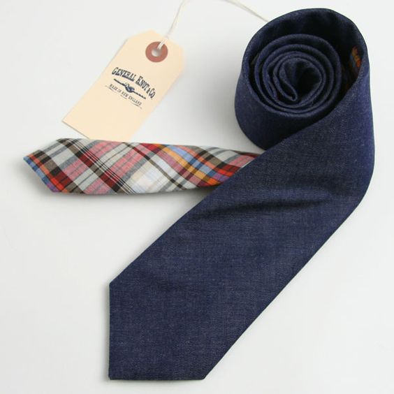 Fine Italian Indigo Twill & 1950s Rodeo Plaid - vintage ties handmade in the United States