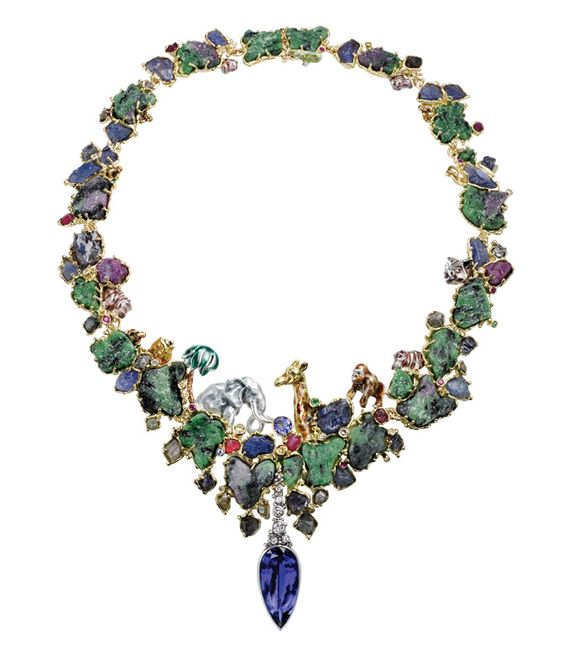 Charlotte Ehinger-Schwarz 1876  Charlotte Ehinger-Schwarz's extraordinary necklace is a tribute to the abundant geological landscape and the magnificent native wildlife of the country of Tanzania. A giraffe, elephant and ape nestle among precious rubies, tsavorite and zoisite. A detachable diamond drop carries the necklace's centerpiece: a dramatic 25 carat marquis cut tanzanite.