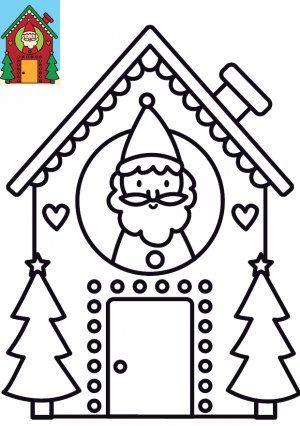 Dessin de Noël à imprimer et colorier : La Maison du Père Noël