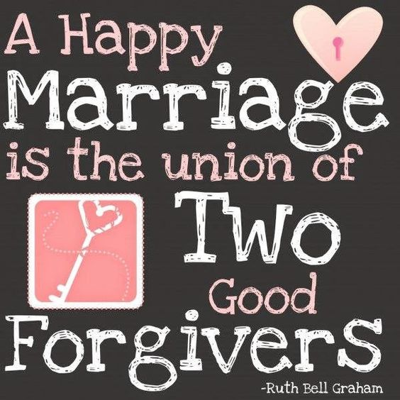 Happy marriage. Forgiveness