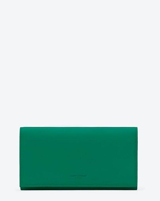 Saint Laurent Portafogli Classic Marquage Verde In Pelle Con Patta