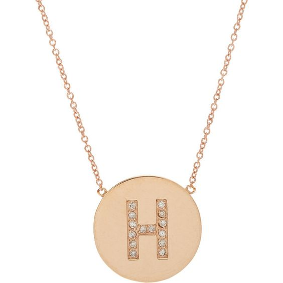 Jennifer Meyer Initial Pendant Necklace ($1,800) ❤ liked on Polyvore featuring jewelry, necklaces, colorless, initial necklace, 18k necklace, chain necklace, pendants & necklaces and disc pendant necklace