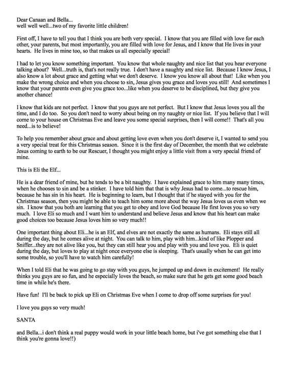 Letter from Santa explaning Santa, Jesus and reason for Elf on the Shelf--love this idea