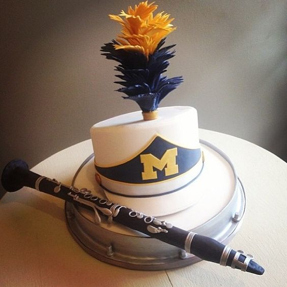 Michigan Marching Band inspired cake.  AND IT WAS DELICIOUS!!!! (we had it at MMB clarinet section tailgate!)