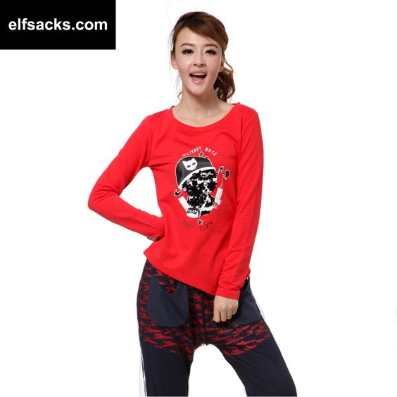 Womens Round Collar Long Sleeve Tshirt Red
