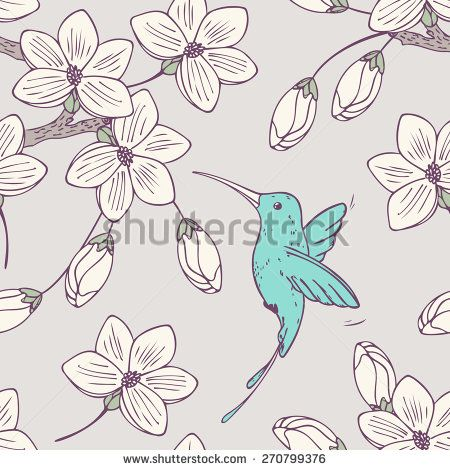 Hand drawn seamless pattern with humming bird colibri and flowers in vector. Doodle style floral illustration with hummingbird
