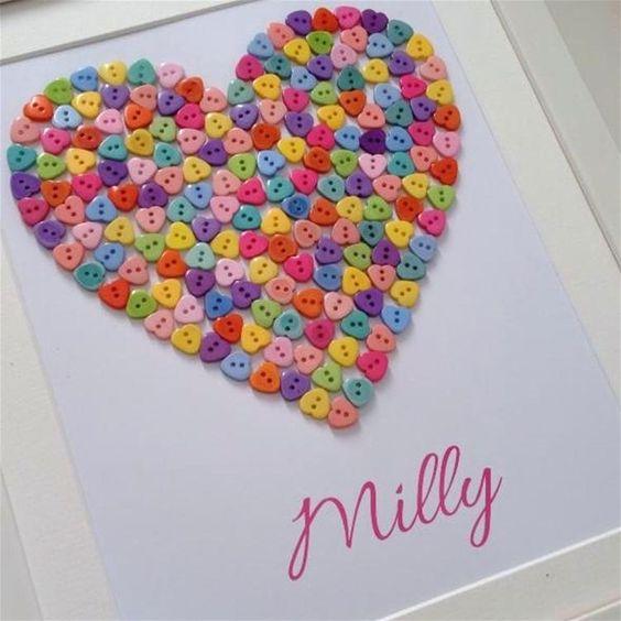 Girls room heart button art New baby gift Birthday for girl