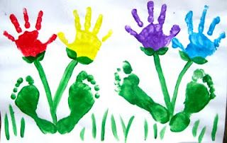 Mothers Day Hand print Foot print Flowers
