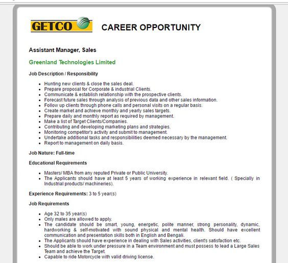 Purbachal Italian City Ltd - Post Title Asstt Manager (Sales - sales and marketing job description