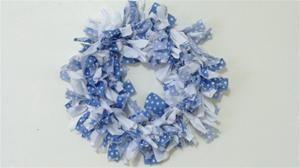 Blue & White Polka Dot Rag Wreath - MayCauseMemories.com :)