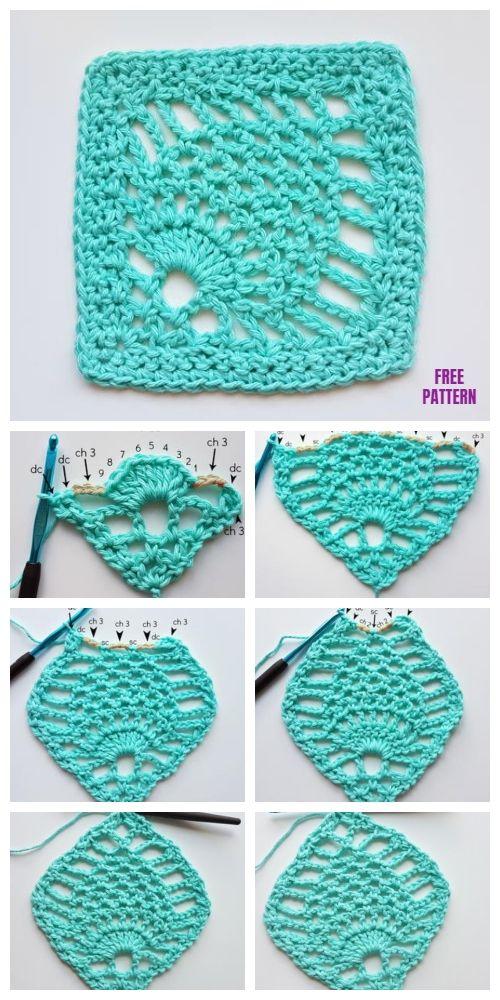 Pineapple Stitch Granny Square Free Crochet Pattern Video